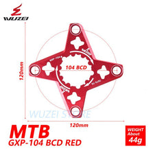 Load image into Gallery viewer, WUZEI Bike Crank GXP to BCD 104MM Spider Adapter MTB Bicycle for XX1 X0 X9