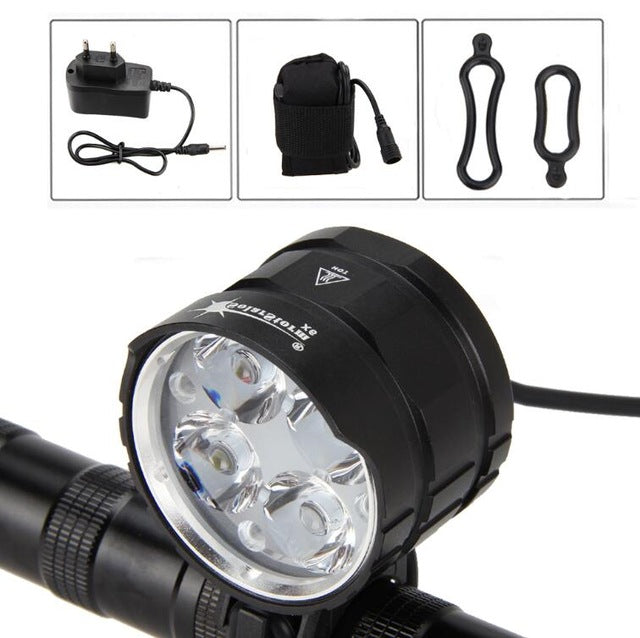 XM-L T6 LED Front Bicycle Headlight Bike Headlamp+6400mAh Rechargeable Battery +Charger