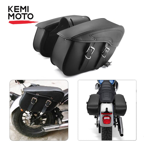 Waterproof Cruiser Motorcycle Saddlebag Leather Side Luggage Bag