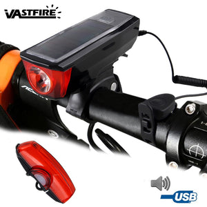 Bicycle Solar Headlight Bike Cycling Front Lamp Super Bright USB Rechargeable