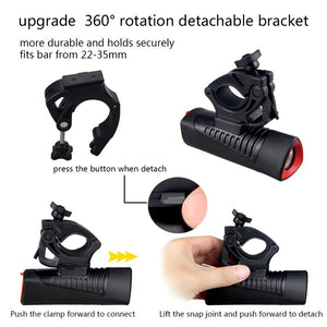 Waterproof L2 LED Bike Light 4 Modes USB Charging Front Bike Headlight
