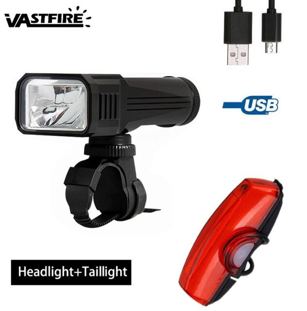 Waterproof USB Rechargeable Bike Light Set Front Headlight 3 Modes Cycling