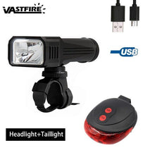 Load image into Gallery viewer, Waterproof USB Rechargeable Bike Light Set Front Headlight 3 Modes Cycling