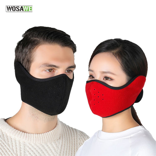 WOSAWE Warmer Cycling Half Face Mask Fleece Windproof Bike