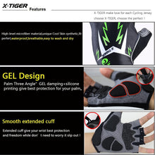 Load image into Gallery viewer, X-Tiger 3D GEL Pad Half Finger GEL MTB Bicycle Gloves Reflective Cycling