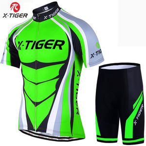 X-Tiger Flour Green Cycling Jerseys Set Mountain Bike