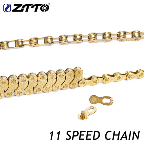 ZTTO 11 Speed Chain Titanium Nitride Coating Gold With Missing Link