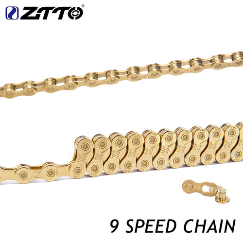 ZTTO 9 Speed Chain Road MTB  Titanium Nitride Coating Gold