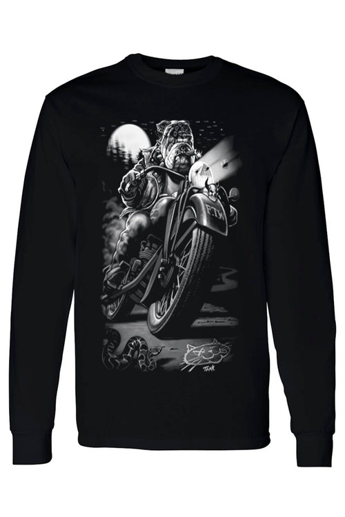 Unisex Long Sleeve Shirt Biker Bulldog Cats Suck