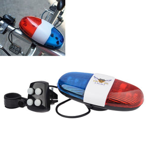 Bicycle Bell 6LED 4 Tone Bicycle Horn Bike Call LED Bike Police - Bike-Moto