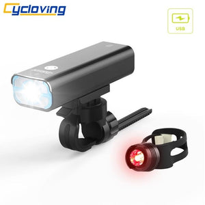 Cycloving LED bicycle light Bike lights 5 modes Wide floodlight rechargeable - Bike-Moto