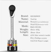 Load image into Gallery viewer, ROCKBROS 6 IN 1 Ratchet Wrench Bicycle EDC Tools CR-MO Steel