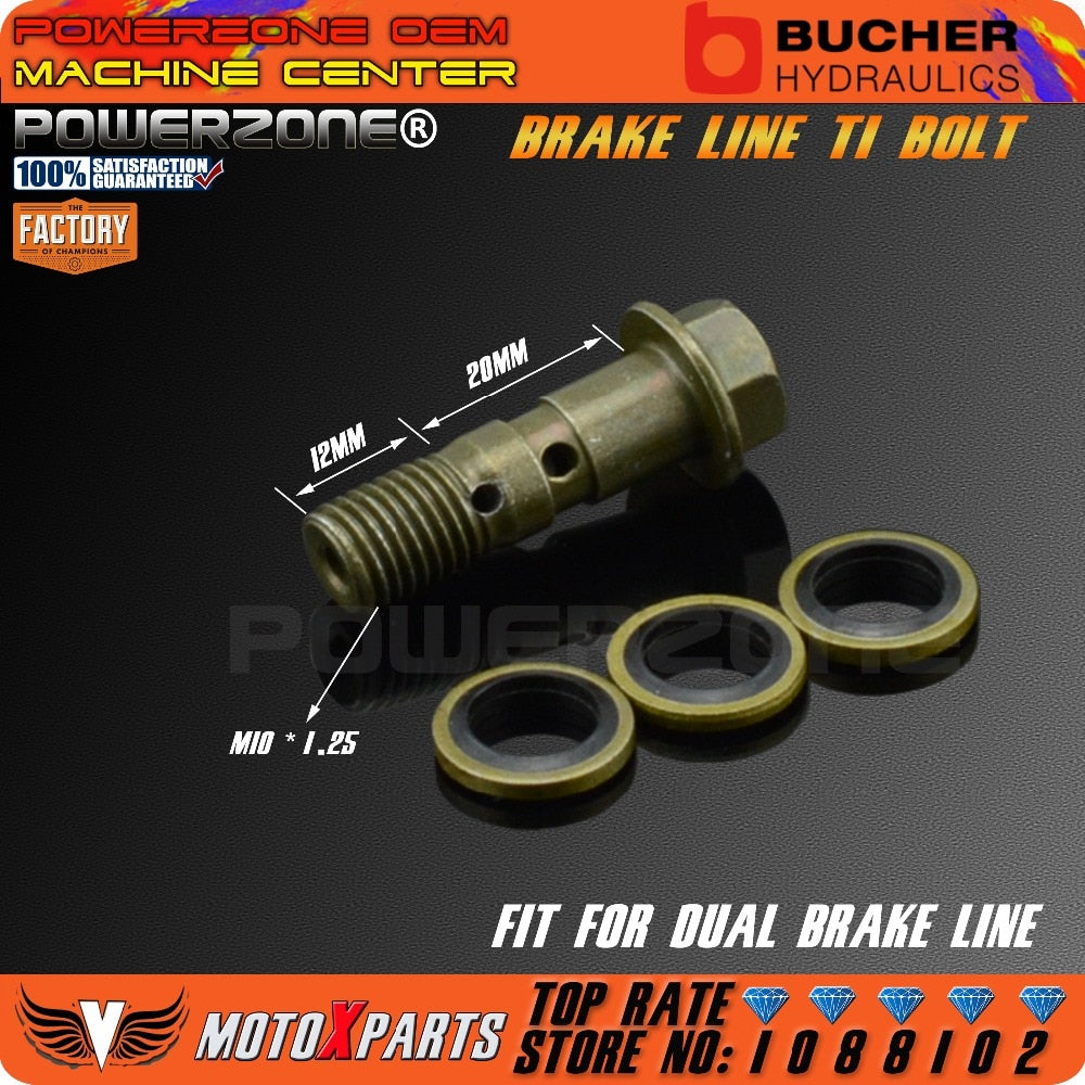 Motorcycle Double Banjo Bolt M10 *1.25 Pitch For Brake Dual Line
