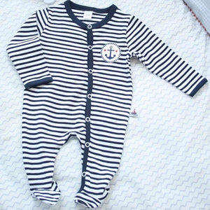 Babystrampler Navy Gestreift - Ankerdruck - INSELLIEBE Store - Insel Usedom