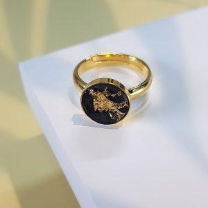 Betonschmuck - Finger-Ring Black Gold Edition - INSELLIEBE Store - Insel Usedom