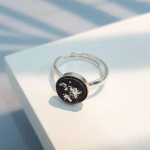 Betonschmuck - Finger-Ring Black Silver Edition - INSELLIEBE Store - Insel Usedom