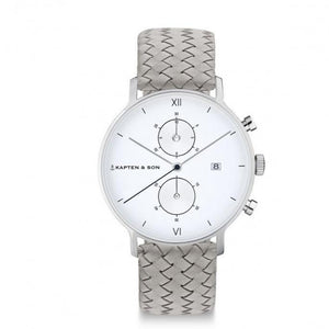 "Chrono Silver ""Grey Woven Leather"" - INSELLIEBE Store - Insel Usedom"