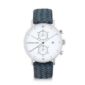 "Chrono Silver ""Light Blue Woven Leather"" - INSELLIEBE Store - Insel Usedom"