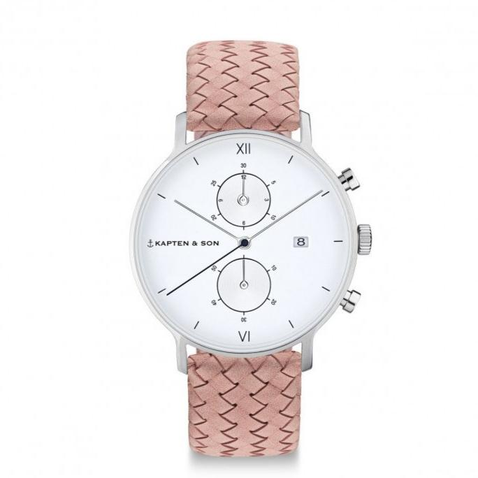 Chrono Silver - Rose Woven Leather - INSELLIEBE Store - Insel Usedom