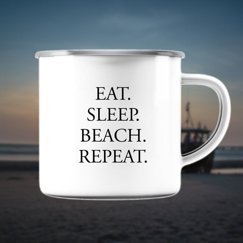 "Emaille Tasse ""Eat Sleep Beach Repeat"" - Handbedruckt auf Usedom - INSELLIEBE Store - Insel Usedom"