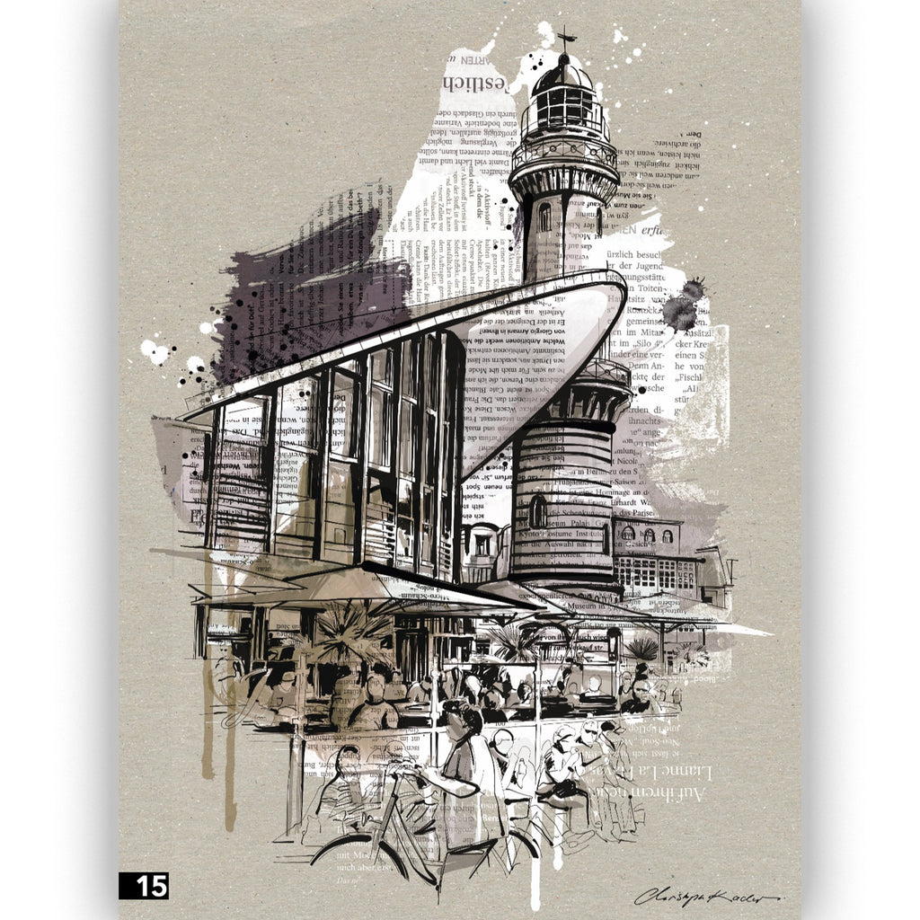 "Illustration ""Warnemünde Collage"" von Christoph Kadur - 40x50cm - INSELLIEBE Store - Insel Usedom"