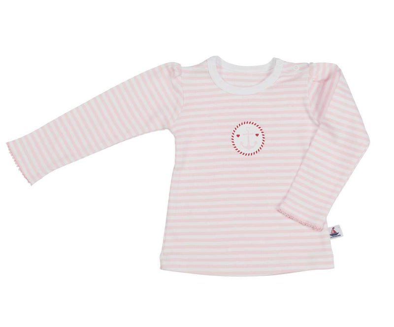 Langarmshirt mit Ankerdruck - Rosa-gestreift - 86-92 - INSELLIEBE Store - Insel Usedom