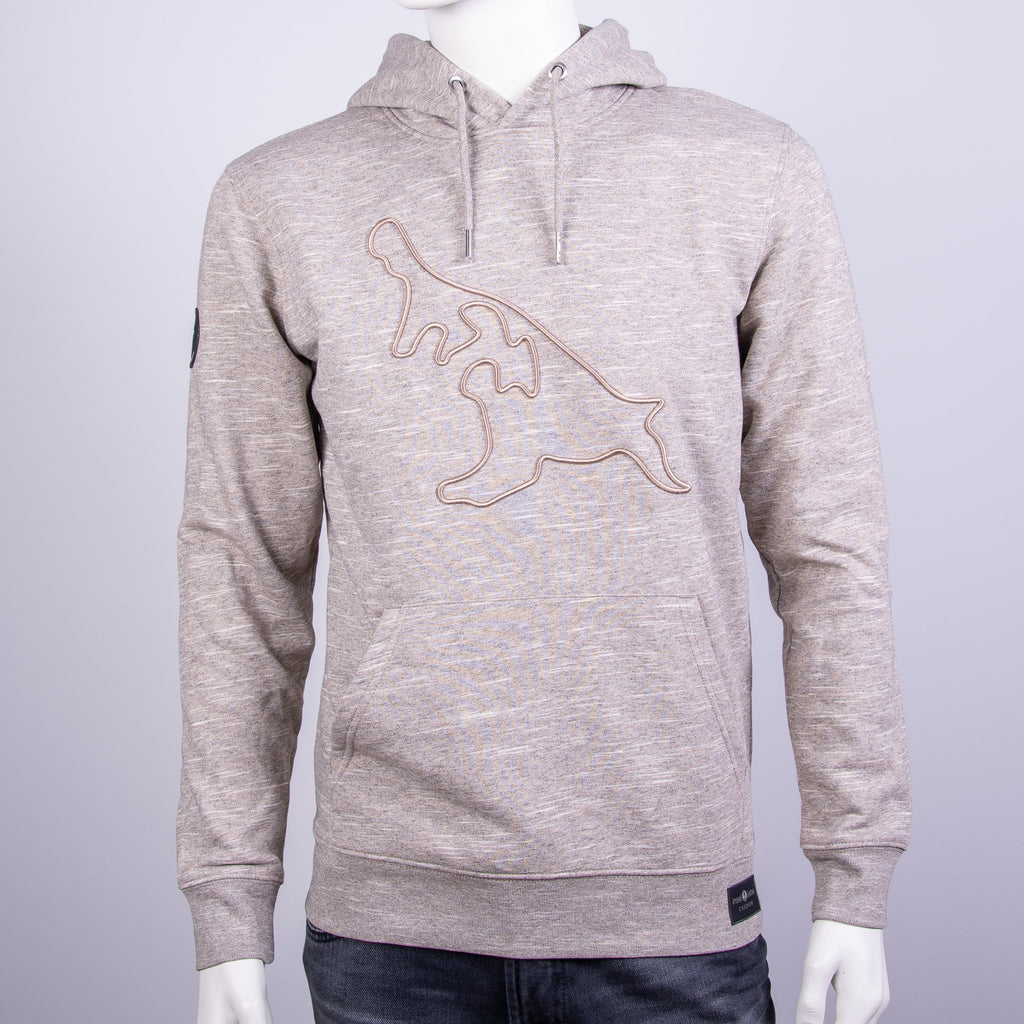 "Premium Hoodie ""Insel DNA"" - Taupe Meliert 