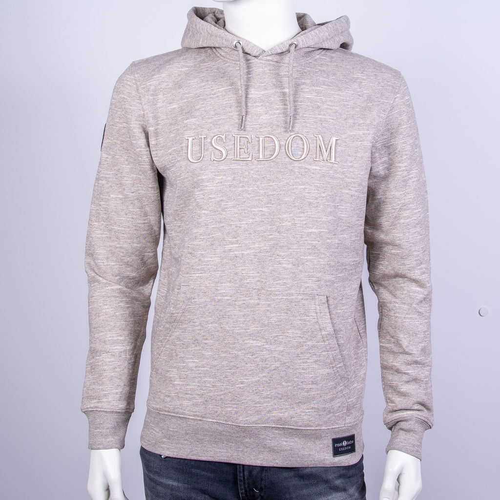 "Premium Hoodie ""USEDOM"" - Taupe Meliert 