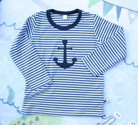 T-Shirt Langarm - Navy-gestreift mit Applikation - 110-116 - INSELLIEBE Store - Insel Usedom