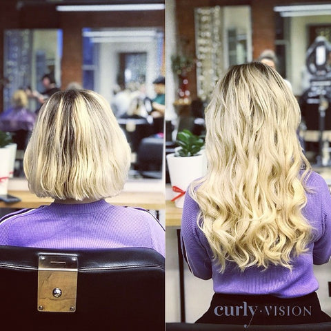 Tape extensions before and after