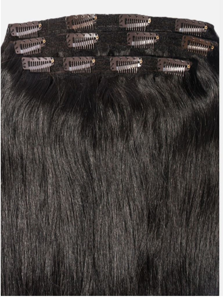 Clip-In Hair Extensions Jet Black | Superior 180 Grams