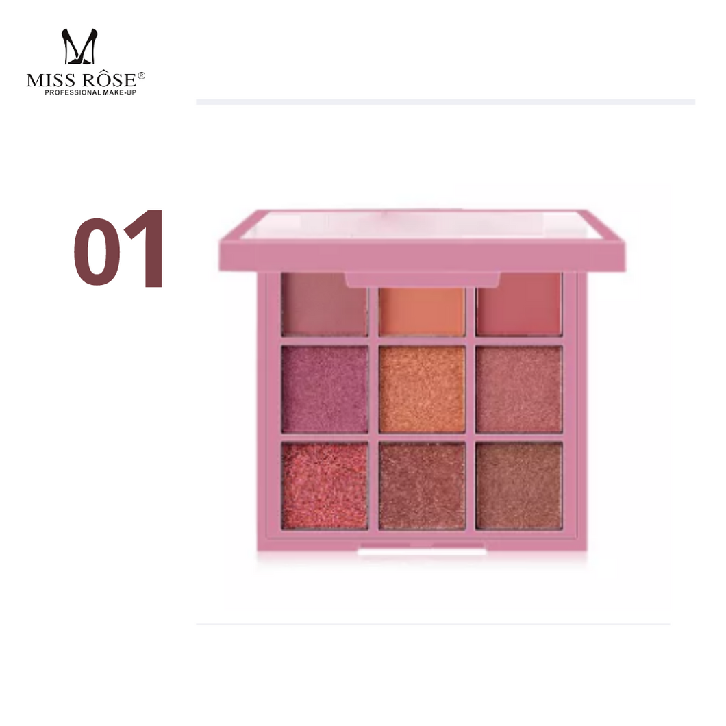 MISS ROSE 9 Colors Matte Pearlescent Powder Eyeshadow Palette