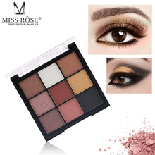 Load image into Gallery viewer, MISS ROSE 9 Color Glitter Matte Eyeshadow Palette
