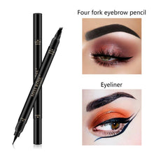 Load image into Gallery viewer, MISS ROSE Double Head 4 Fork Eyebrow Pencil 2 In 1 Black