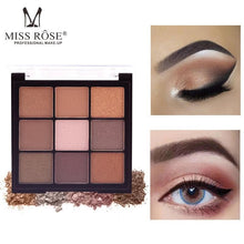 Load image into Gallery viewer, MISS ROSE 9 Color Pearlescent Matte Eyeshadow Palette