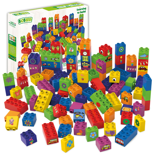 Learning to Build - 100 piece set of blocks from Biobuddi
