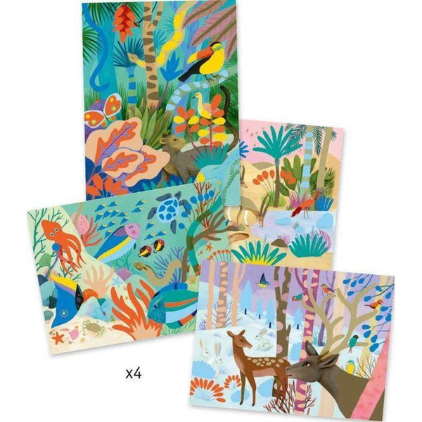 Four scenes are included in this lovely art set