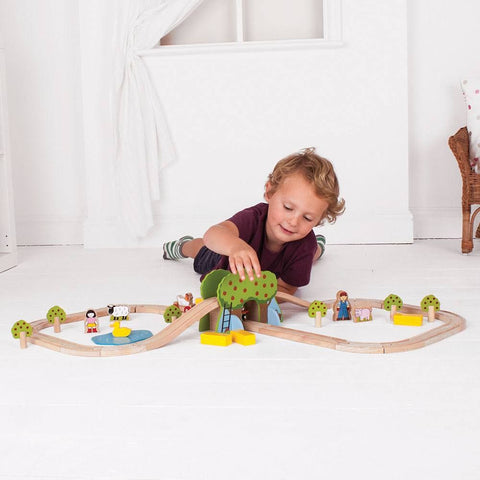 Create for helping creativity this wooden train set is a great gift.