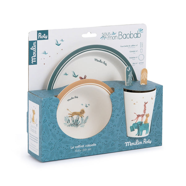 Beautiful five piece bamboo dinner set is illustrated with jungle animals.