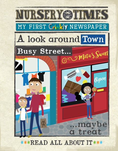 Nursery Times Crinkly Book Newspaper - A Look Around Town