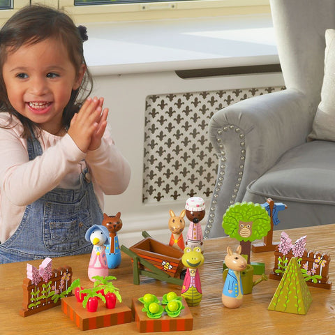Great for creative play, the Peter Rabbit Traditional Wooden Playset.