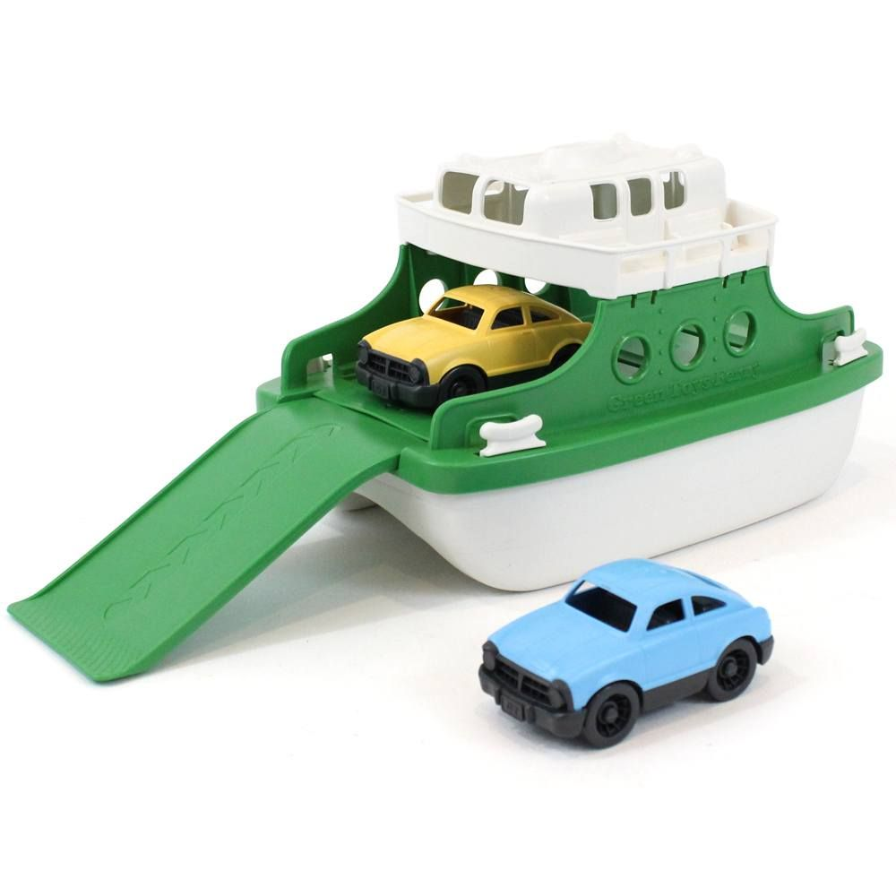 Perfect for land and water adventures this ferry boat has two cars that can travel in and off the ferry.