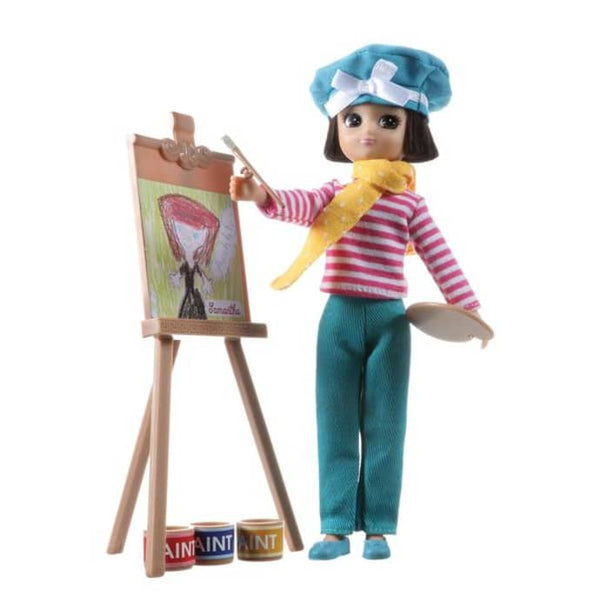 With her easel, paints and brushes she can see wantsto sketch everyting around her..