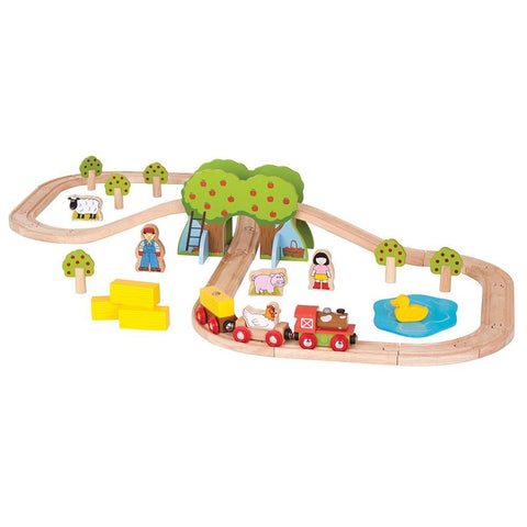 Lovely bright wooden farm train set - great fun!