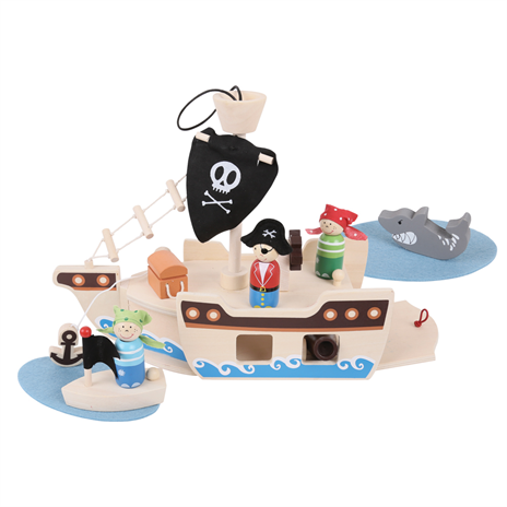This mini pirate play set consists of 10 pieces
