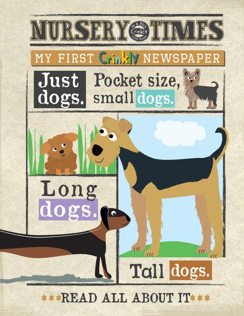 Nursery Times Crinkly Book Newspaper - Just Dogs