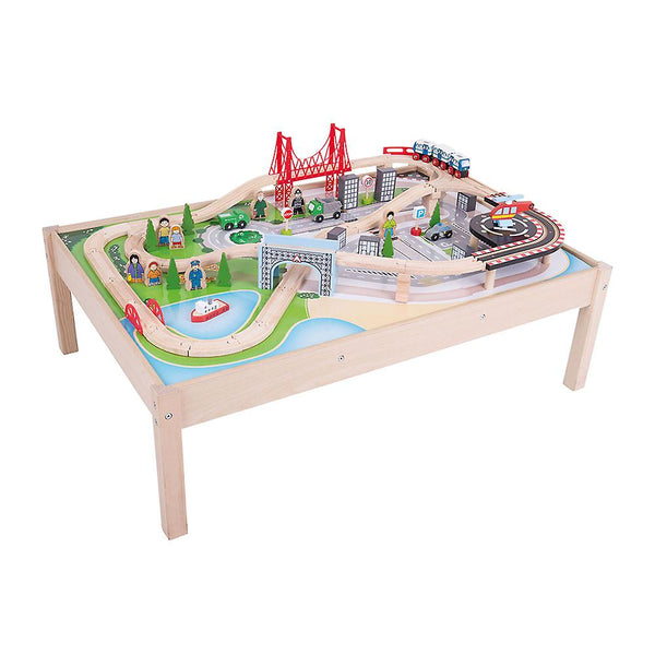 Wooden City Train Set and Table from Bigjigs Rail