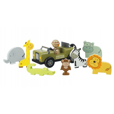 Beautiful traditional wooden safari Playset- perfect for christening gifts and long lasting toys and gifts.