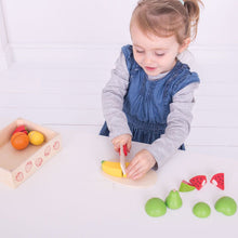 Load image into Gallery viewer, Bigjigs Toys Wooden Cutting Fruit Crate