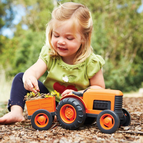 Orange Tractor from Green Toys, durable and suitable for indoor and outdoor play